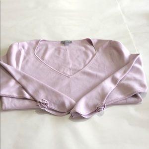 Ann Taylor Lilac Silk/Nylon V-neck sweater SZ M